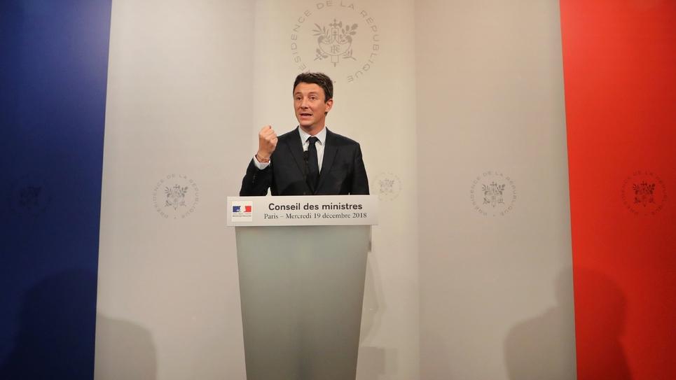 Le porte-parole du gouvernement Benjamin Griveaux donne une conférence de presse à l'issue du Conseil des ministres, le 19 décembre 2018 à l'Elysée