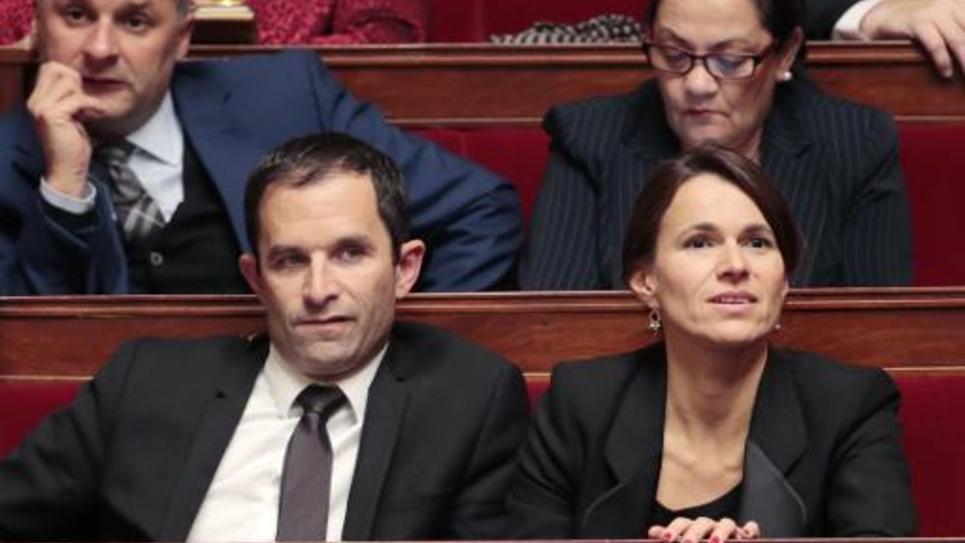 Benoit Hamon et Aurelie Filippetti le 19 novembre 2014 à l'Assemblée nationale à Paris
