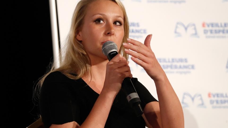 L'ancienne députée RN Marion Maréchal lors d'une intervention sur l'enseignement à Paris, le 31 mai