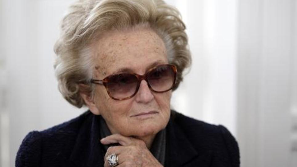 """L'ancienne Première dame Bernadette Chirac lors d'une conférence de presse pour la présentation du livre """"Les Territoires de France sacrifiés"""", le 4 mars 2014 à l'Assemblée nationale"""