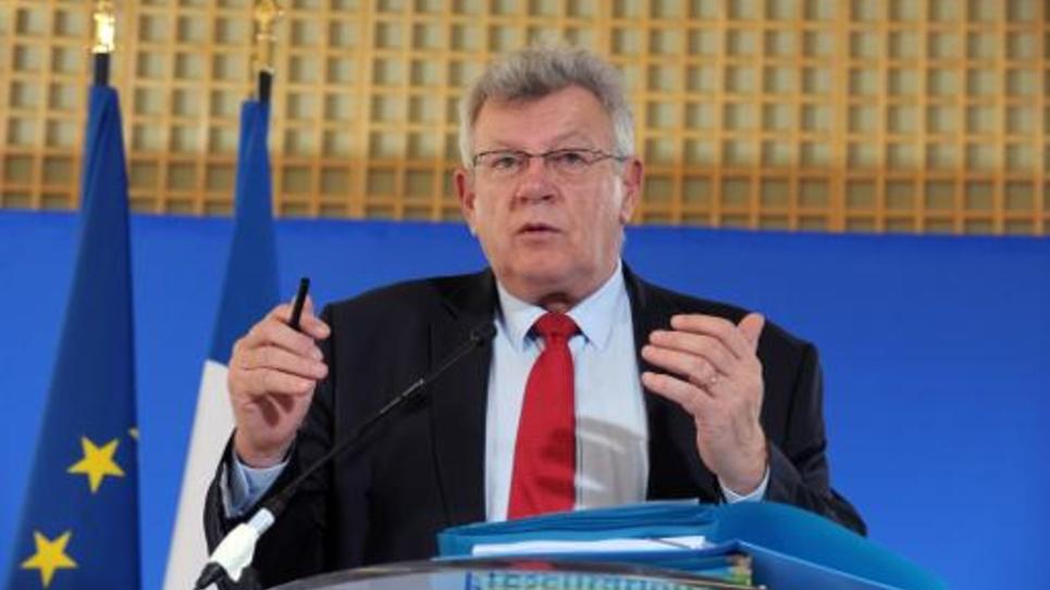 Le secrétaire d'Etat au Budget Christian Eckert lors d'une conférence de presse le 15 avril 2015 au ministère de l'Economie à Paris