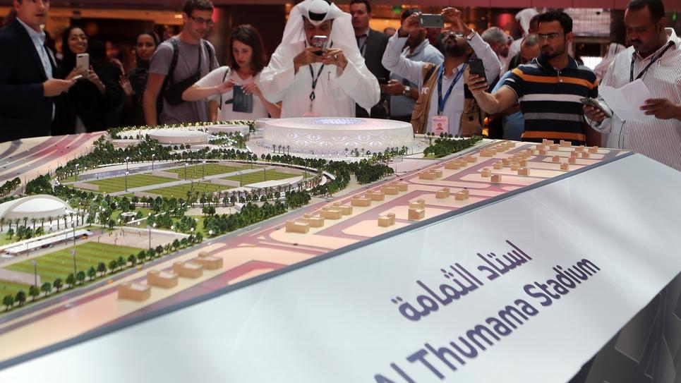présentation le 24 août 2017 de la maquette d'un des stades de Doha où devrait avoir lieu le Mondial en 2022