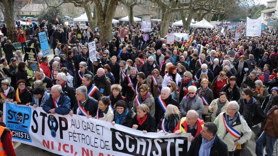 Manifestants contre le gaz de schiste le 28 février 2016 à Barjac (Gard)