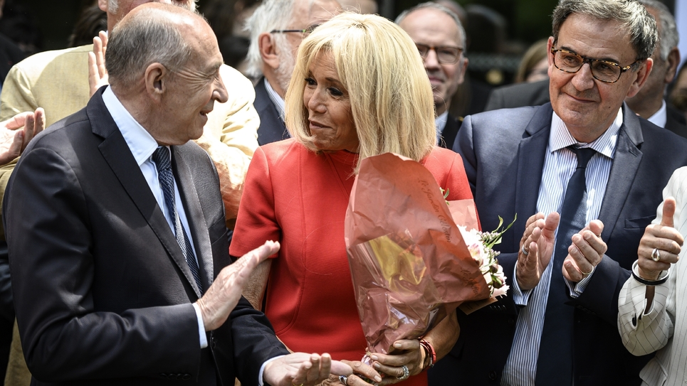 Gérard Collomb, Brigitte Macron et David Kimefeld à Tassin-la-Demi-Lune Lyon le 18 juin 2019