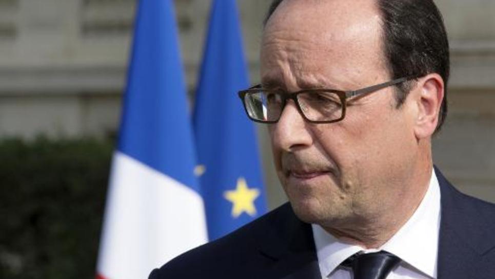Le président de la République François Hollande au ministère des Affaires étrangères à Paris le 26 juillet 2014