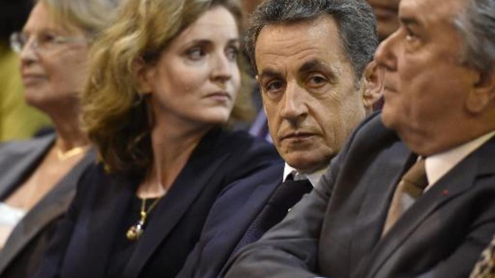 (De d à g) Nicolas Sarkozy, Nathalie Kosciusko-Morizet et Michelle Alliot Marie,   lors d'un meeting le 27 novembre 2014 à Nîmes