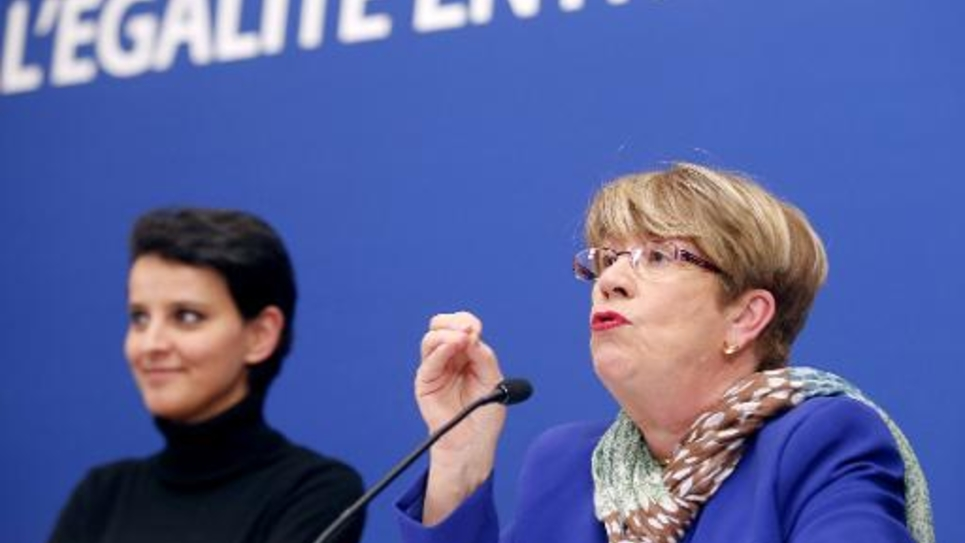 La présidente du Haut Conseil à l'Egalité entre les femmes et les hommes, Danielle Bousquet (D), s'exprime lors de l'installation de ce Haut conseil le 8 janvier 2013