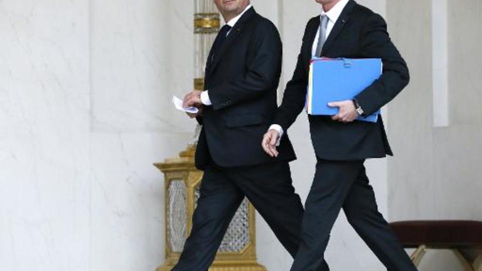 François Hollande et Manuel Valls le 22 décembre 25014 à l'Elysée à Paris