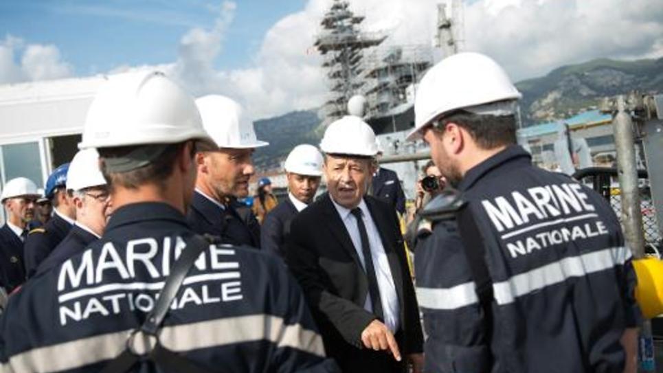 Le ministre de la Défense Jean-Yves Le Drian en visite le 10 octobre 2014 sur la base navale de Toulon