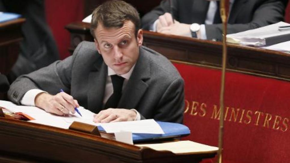 Le ministre de l'Economie  Emmanuel Macron le 4 février 2015 à l'Assemblée nationale à Paris