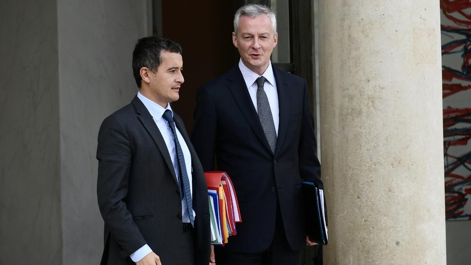 Les ministres Gérald Darmanin et Bruno Le Maire le 24 septembre 2018 à l'issue du Conseil des ministres