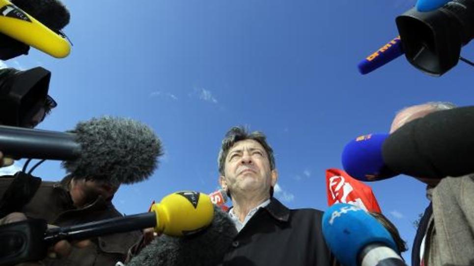 Le leader du Parti de gauche, Jean-Luc Mélenchon, le 8 avril 2014 à Braud-et-Saint-Louis (Gironde)