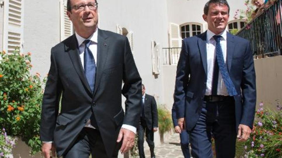 François Hollande et Manuel Valls, Président et Premier ministre, ensemble au Fort de Brégançon le 15 aout 2014 pour une rencontre de travail
