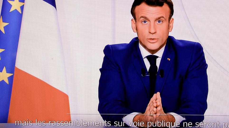 Le président Emmanuel Macron, lors de son allocution télévisée le 24 novembre 2020 à Paris