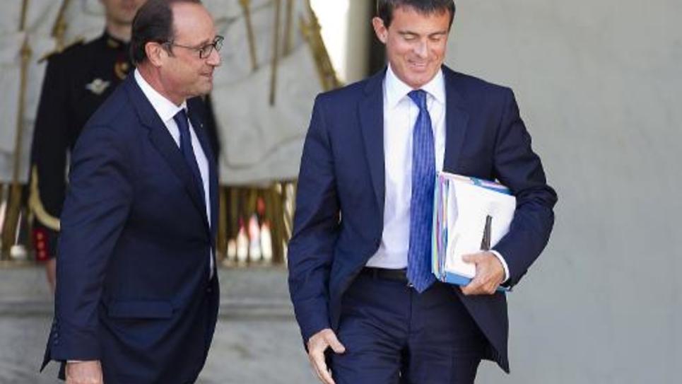 François Hollande et Manuel Valls sur le perron de l'Elysée le 3 septembre 2014