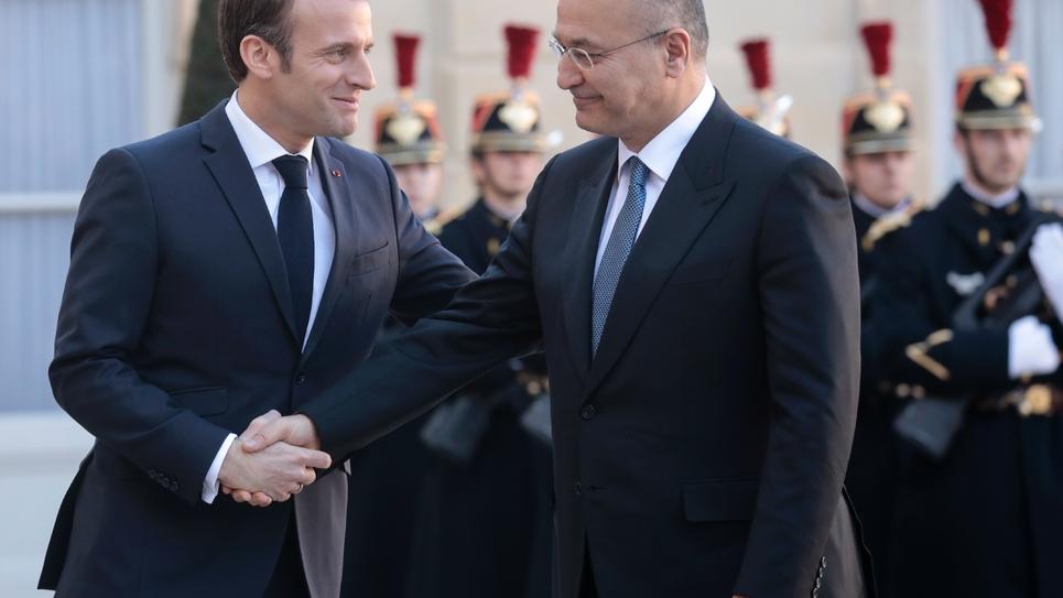 Le président français Emmanuel Macron et son homologue irakien, Barham Saleh à l'Elysée, le 25 février 2019