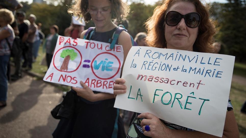 Manifestation contre le projet de zone de loisurs le 14 octobre 2018 à Romainville (Seine-Saint-Denis)