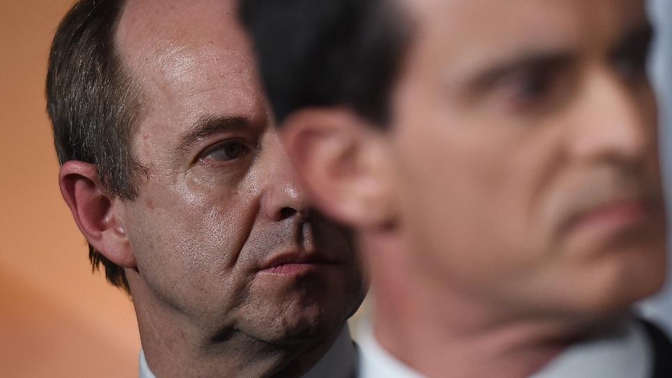 Jean-Jacques Urvoas (g) et Manuel Valls, le 1er février 2016 à Bruxelles