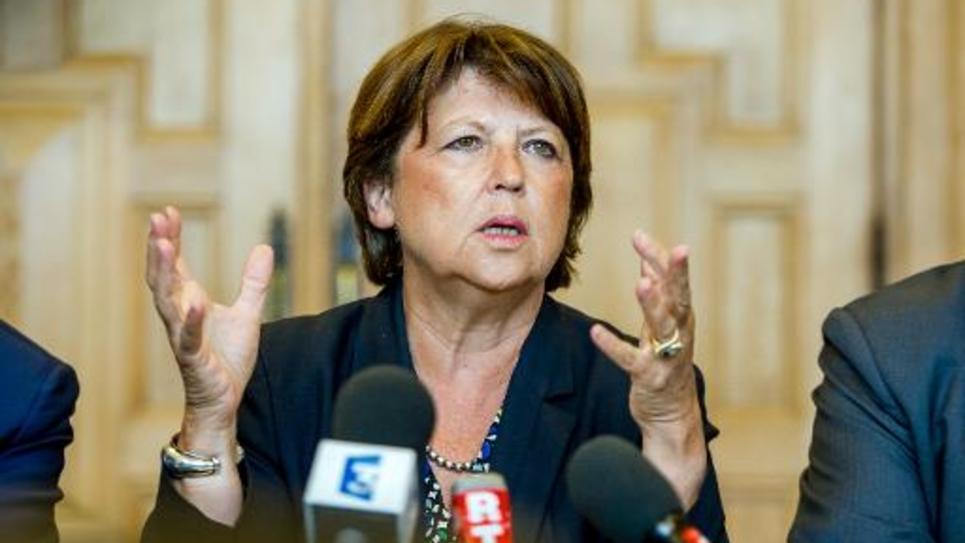 La maire de Lille Martine Aubry lors d'une conférence de presse, le 8 septembre 2014 à Lille