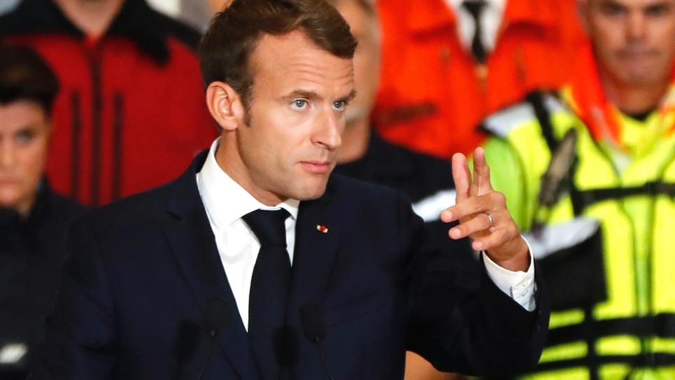 Le président Emmanuel Macron, le 22 octobre 2018 à Villalier, dans l'Aude