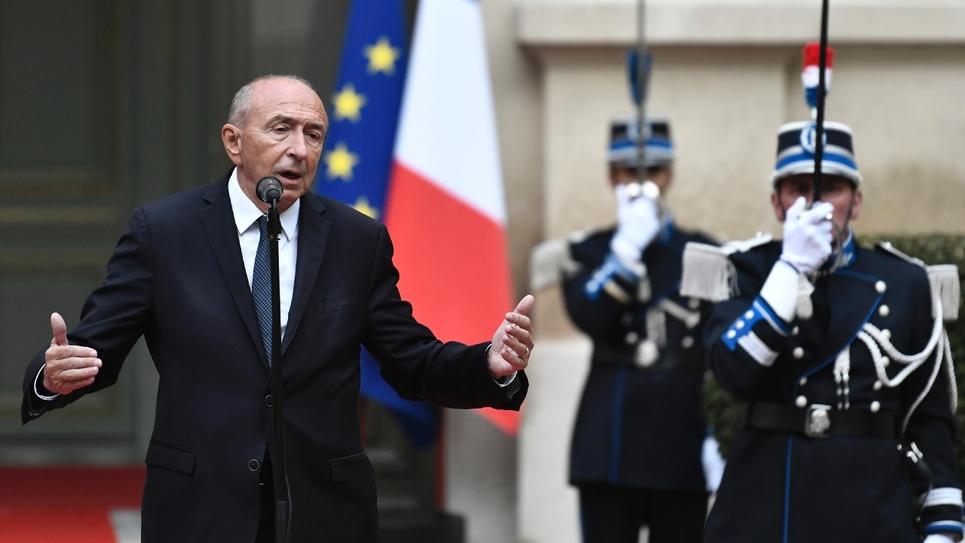 Gérard Collomb prononçant son discours de départ du ministère de l'Intérieur. Paris, 3 octobre 2018.