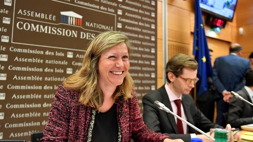 Yaël Braun-Pivet (LREM), co-rapporteuse de la commission d'enquête à l'Assemblée sur l'affaire Benalla, à Paris le 24 juillet 2018