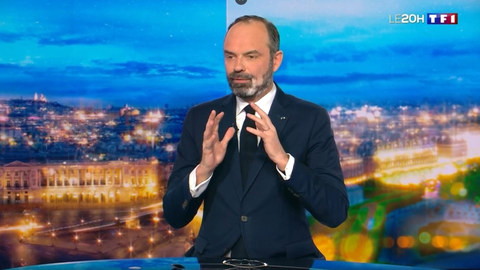 Capture d'écran de l'interview du Premier ministre Edouard Philippe sur TFI le 29 février 2020