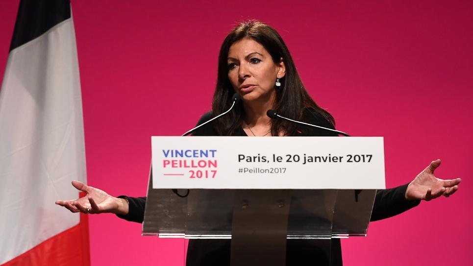 La maire PS de Paris, Anne Hidalgo, lors d'un meeting de Vincent Peillon le 20 janvier 2017 à Paris