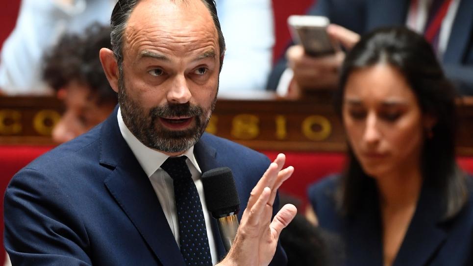Le Premier ministre Édouard Philippe s'exprimant lors de la séance de questions au gouvernement, à l'Assemblée nationale à Paris le 16 juillet 2019.