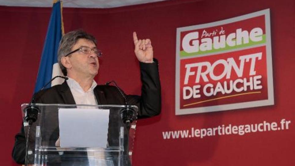 Jean-Luc Mélenchon, du Parti de gauche (PG), lors d'un point presse le 8 janvier 2015 à Paris