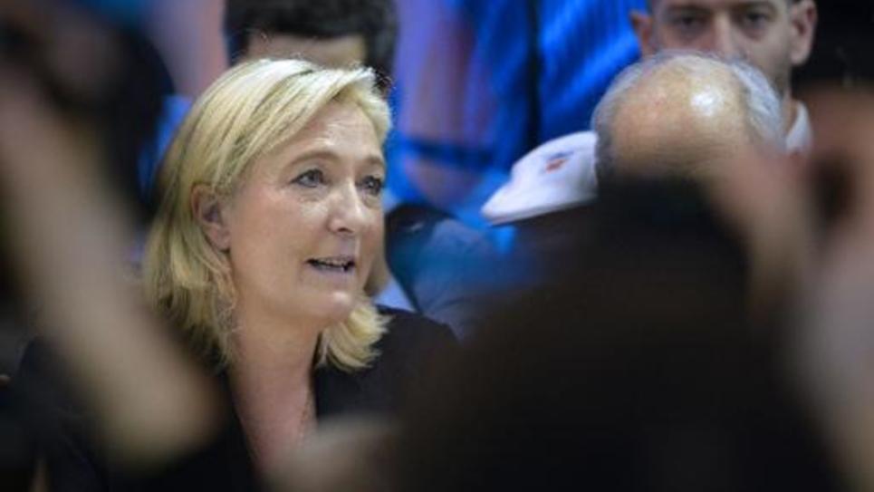La présidente du FN Marine Le Pen à Paris le 26 février 2015