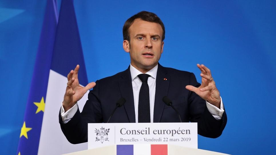 Le président Emmanuel Macron lors d'une conférence de presse, le 22 mars 2019 à Bruxelles