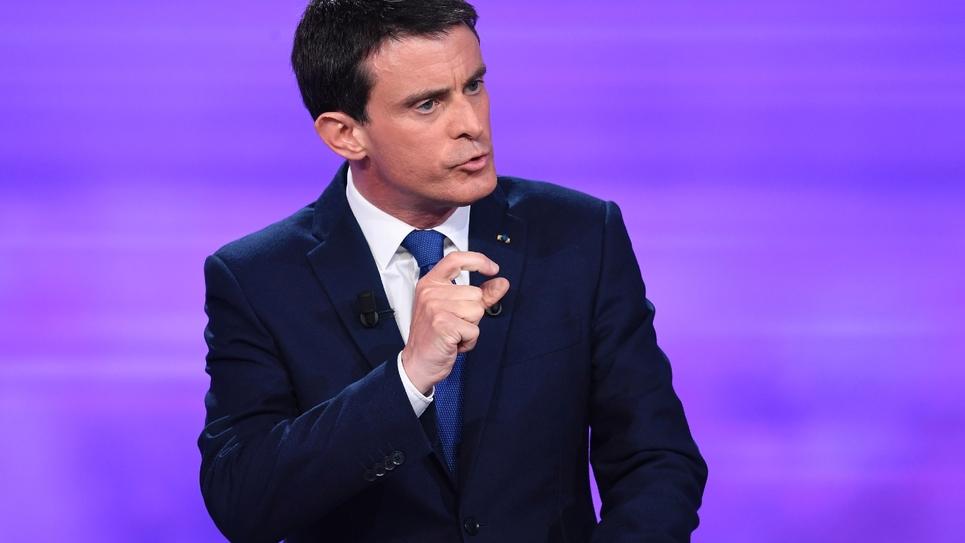 Manuel Valls lors du débat TV de l'entre-deux-tours de la primaire PS, le 25 janvier 2017 à La Plaine-Saint-Denis