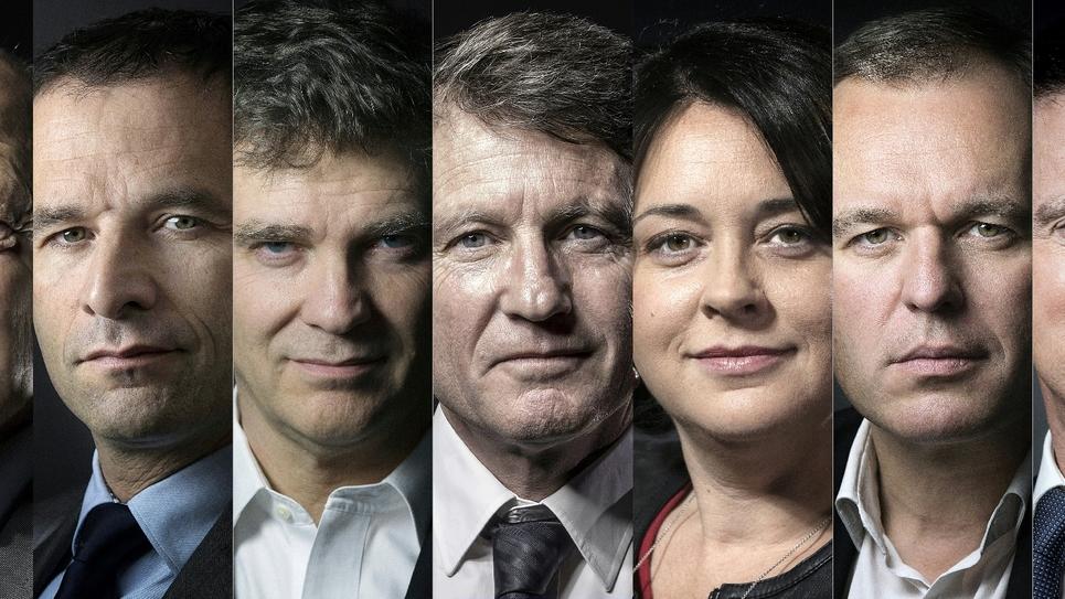 Photo montage des 7 candidats à la primaire de la gauche