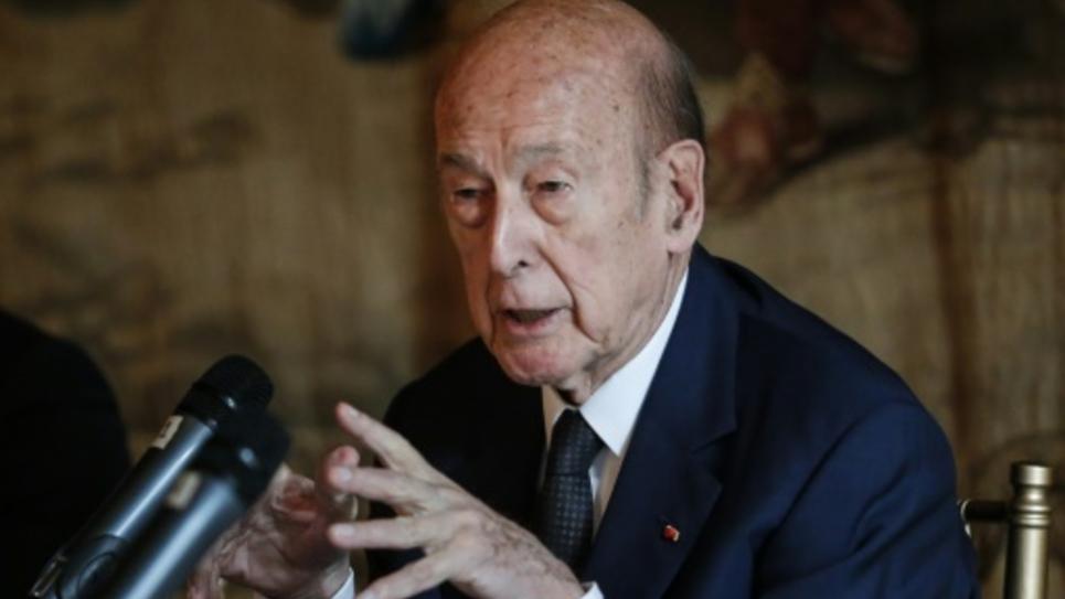 Valery Giscard d'Estaing participe à une conférence sur l'Europe, le 5 juin 2015 à New York