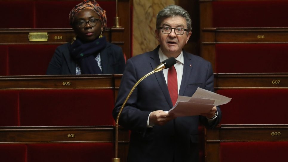 Le chef de file des députés LFI, Jean-Luc Mélenchon à l'Assemblée nationale à Paris le 22 mars 2020