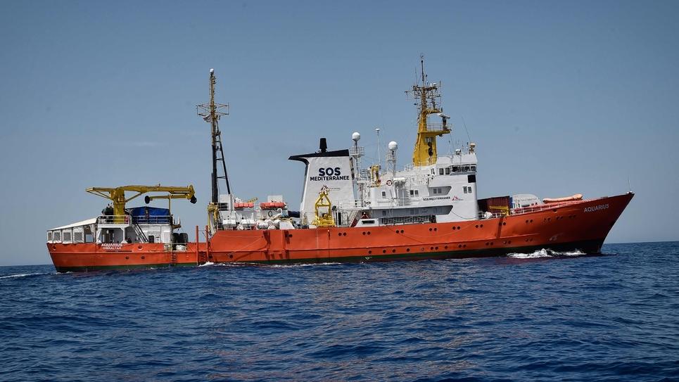 L'Aquarius, navire de l'ONG SOS Méditerranée en mai 2018