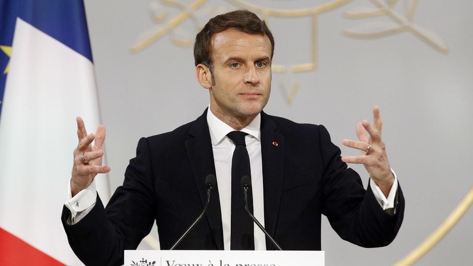 Le président Emmanuel Macron présente ses voeux à la presse le 15 janvier 2020 à Paris