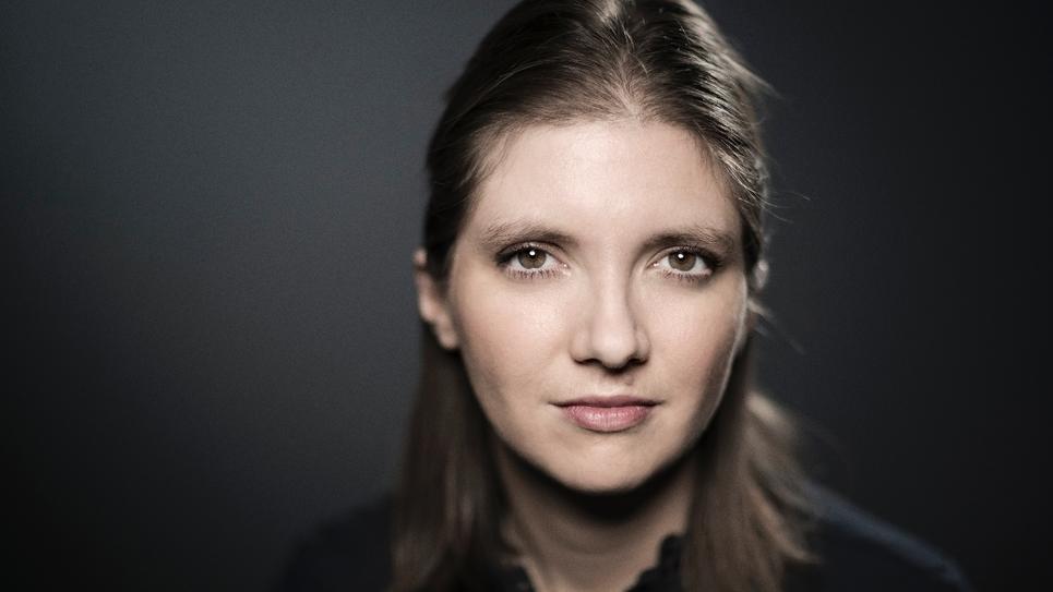Aurore Bergé photographiée lors d'une séance photo le 8 janvier 2018 à Paris