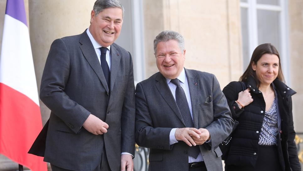 L'avocat Jean Veil (C) et son frère Pierre-François Veil (G) à l'Elysée, le 8 mars 2019 à Paris