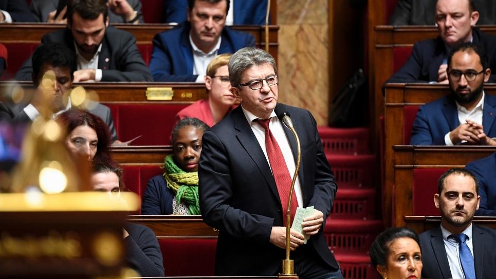 Jean-Luc Mélenchon lors des questions au gouvernement à l'Assemblée nationale, le 12 décembre 2018