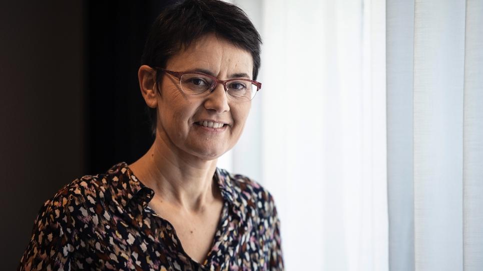 Nathalie Arthaud, tête de liste de Lutte Ouvrière aux élections européennes, le 29 mars 2019 à Paris
