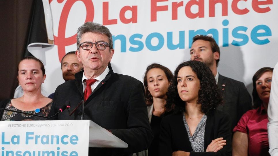 Jean-Luc Mélenchon et Manon Aubry au soir des élections européennes, le 26 mais 2019 à Paris