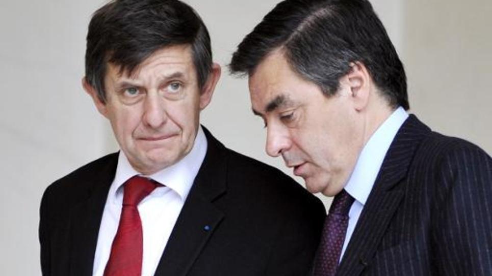 Le Premier ministre de l'époque François Fillon et son secrétaire d'Etat des affaires européennes Jean Pierre Jouyet, le 12 novembre 2008 quittant l'Elysée