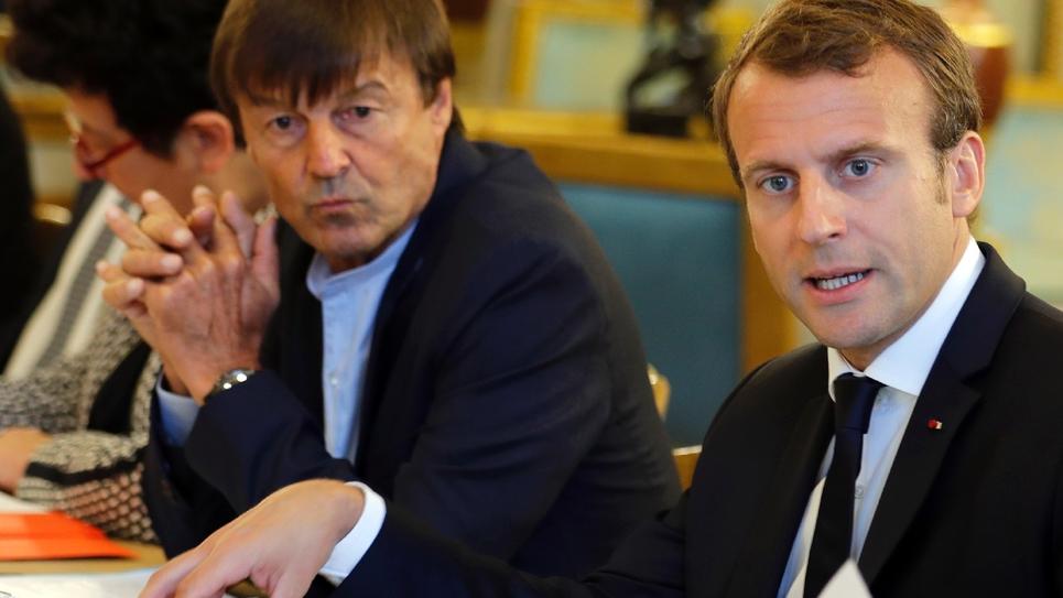 Le président Emmanuel Macron et Nicolas Hulot, ministre de la Transition écologique et solidaire reçoivent 14 ONG actives dans les domaines de l'environnement à l'Élysée, le 5 septembre 2017