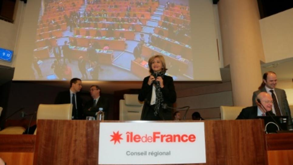 La présidente de la région Ile-de-France, Valérie Pécresse (LR), lors d'une session plénière du conseil régional, le 21 janvier 2016, à Paris