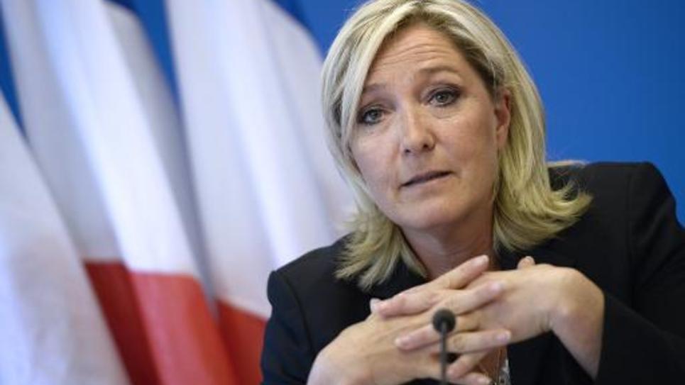 Marine Le Pen, présidente du Front National, lors d'une conférence de presse, à Nanterre, le 25 juin 2014