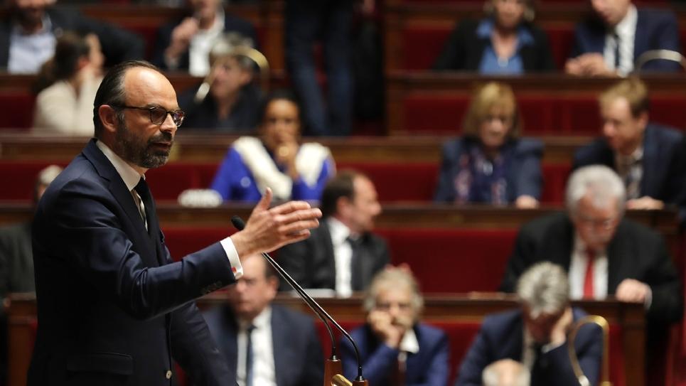 Le Premier ministre Edouard Philippe à l'Assemblée nationale à Paris le 9 avril 2019