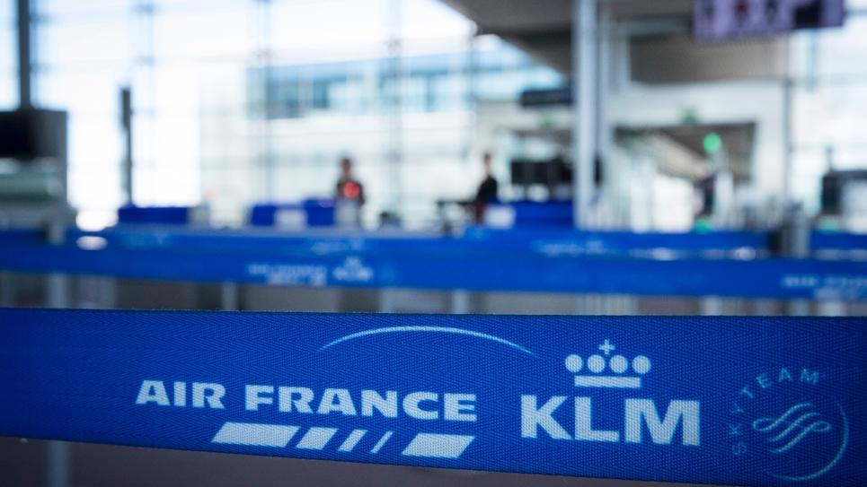 Les logos d'Air France KLM à l'aéroport de Roissy-Charles-de-Gaulle, le 6 août 2018