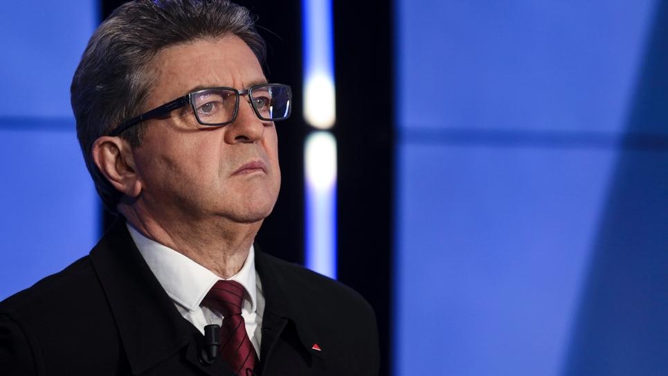 Le chef de file de La France insoumise, Jean-Luc Mélenchon avant le débat entre chefs de parti sur BFM TV, le 20 mars 2019 à Paris